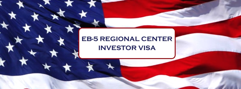 "U.S. Flag background with block of white with black text with the words ""EB-5 Regional Center Investor Visa"" in the middke"